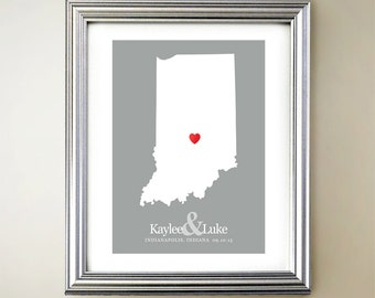Indiana Custom Vertical Heart Map Art - Personalized names, wedding gift, engagement, anniversary date