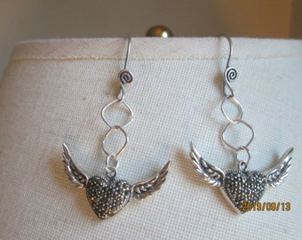 """Handcrafted Art Deco Handcrafted 925 Sterling Silver and Genuine Marcasite Winged Heart Love Dangle Earrings, Wt. 9 Grams, 2"""" Long"""