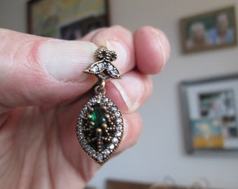 Vintage Inspired Sparkling Deco .54ctw Green Emerald & Icy White Sapphire Rose Gold/Sterling Silver Pendant, Wt. 4.5 Grams