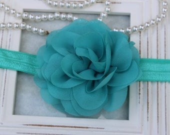 Teal headband, turquoise baby girl headband, toddler flower girl headband, turquoise headband, turquoise hair accessory, teal girls headband