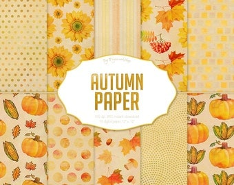 """Autumn Digital Papers: """"Autumn Paper"""" autumn patterns, autumn backgrounds with fall colors brown, orange and green"""