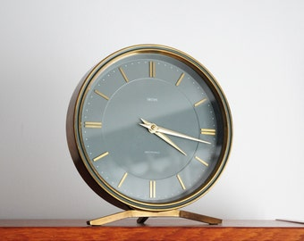 Art Deco Clock by Smiths/ Sectronic/ Made in Great Britain/ Brass & Glass