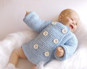 Baby boy Cardigan - Double breasted cardigan - Hand knitted baby cardigan - Knitted Baby Sweater - Baby boy cardigan - Hand knit clothes