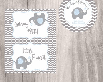 Elephant Favor Tags and Treat Bag Toppers, Blue Little Peanut Baby Shower Favor Tags, Instant Download, Blue Baby Shower Elephant Tags