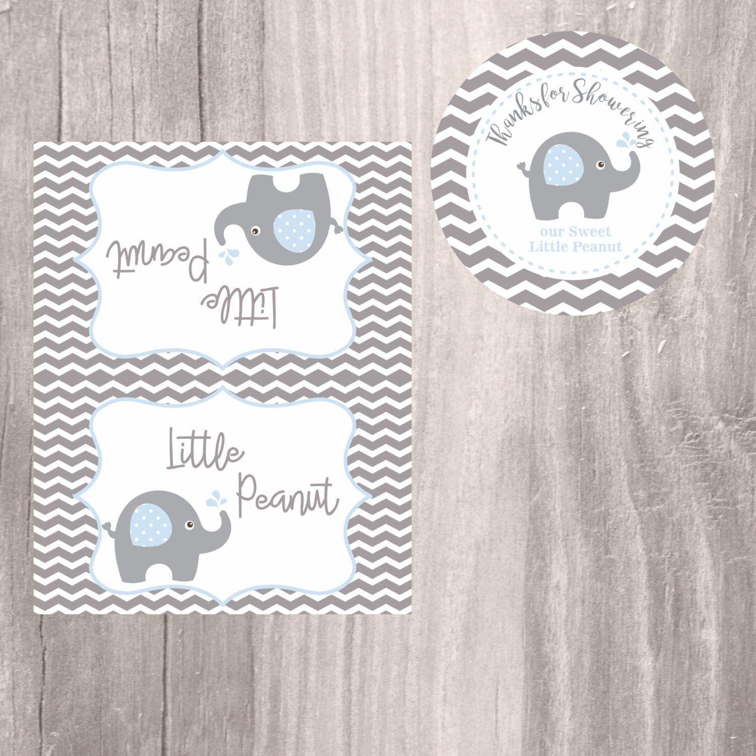 Elephant Favor Tags and Treat Bag Toppers Blue Little Peanut