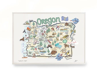 """Oregon Map, 9""""x12"""" Oregon Print, Unframed, Printed on watercolor paper"""