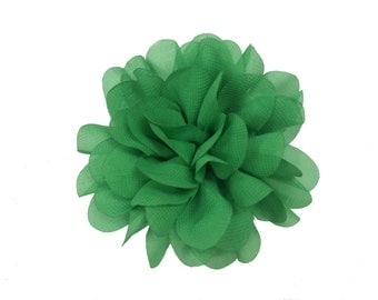 "3.75"" Scallop Hair Flowers, Wholesale Scallop Flower Heads for Flower Head Bands, Lot of 1, 2, 5 or 10, Emerald"