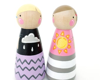 "3 1/2"" peg dolls - Rain or Shine 3 1/2"" friends // bff peg dolls // wooden toys // wooden dolls // handprinted toys // sunshine and rain"