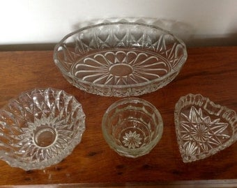 Pressed/Cut Glass Bowls 1950's-1970's.