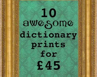 10 dictionary prints sale upcycled book art