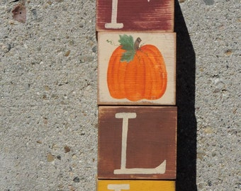 FREE SHIPPING: Set of 4- 3 1/2 x 3 1/2 Wooden FALL blocks with Pumpkin