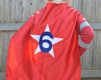 Kids Super Hero Cape - Super Hero Cape Personalized with Shape and NUMBER - Super Hero Party Favor - Custom Super Hero Cape