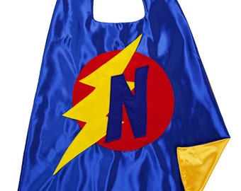 Lighting Bolt Superhero Cape - Blue Red Yellow Cape - Initial Cape - FREE MASK - Toddler Superhero Cape - Toddler Birthday Gift