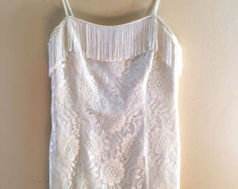 CLUELESS 90's white lace mini dress with FRINGE (S/M)