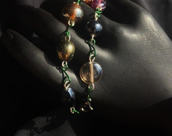 8 in Trendy Vintage Style Glass Bead Fashion Bracelet with Green links and Hematite Clasp