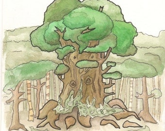 Large Green tree in the Woods-Original Hand Painted Watercolor