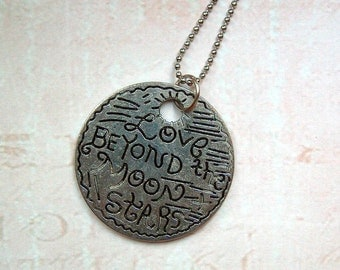 Silver necklace in vintage style Love Liebe