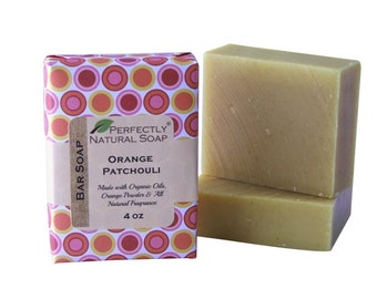 Orange Patchouli All Natural Artisan Handmade Soap, 4 oz