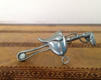 Elias Fine Silver Pewter Sadle and Whip Cravatte Pin