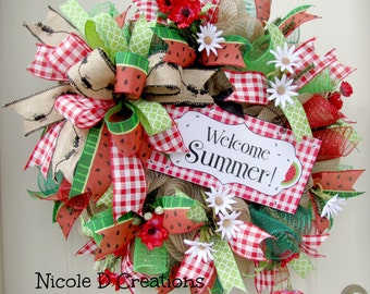 Spring Wreaths- Summer Wreaths- Front Door Wreaths- Deco Mesh Wreaths-  Watermelon Wreath