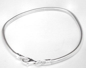 Italian 925 Sterling Silver, 7 Inch Snake Chain Bracelet for European Style and Large Hole Beads