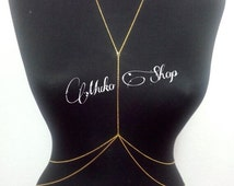 gold body chain, gold plated chain,delicate body chain,beach jewelry,elegant  chain,body necklace,gift ,