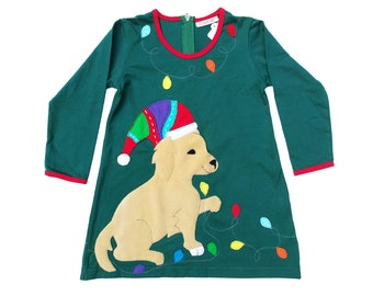 Christmas Dress in Hunter Green & Red