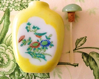 Antique Chinese Snuff Bottle--Yellow--1800's--Green Jade Stopper