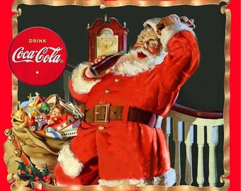 Print Concepts Coca Cola Santa Fabric Panel One Yard Panel Christmas Santa High Quality Cotton