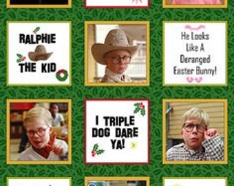 The Christmas Story Holiday Fabric Panel 100% Cotton You'll Shoot Your Eye Out