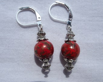 Earrings ceramic beads Red Chinese pattern hand made silver plated Stud Earrings