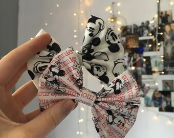 Licensed Mickey and Minnie hair bows! Purchased together or separately!
