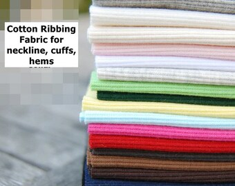 "Rib Knit Fabric, Ribbing Fabric for neckline, cuffs, hems - 15"" (40cm) 17 Colors Selection"