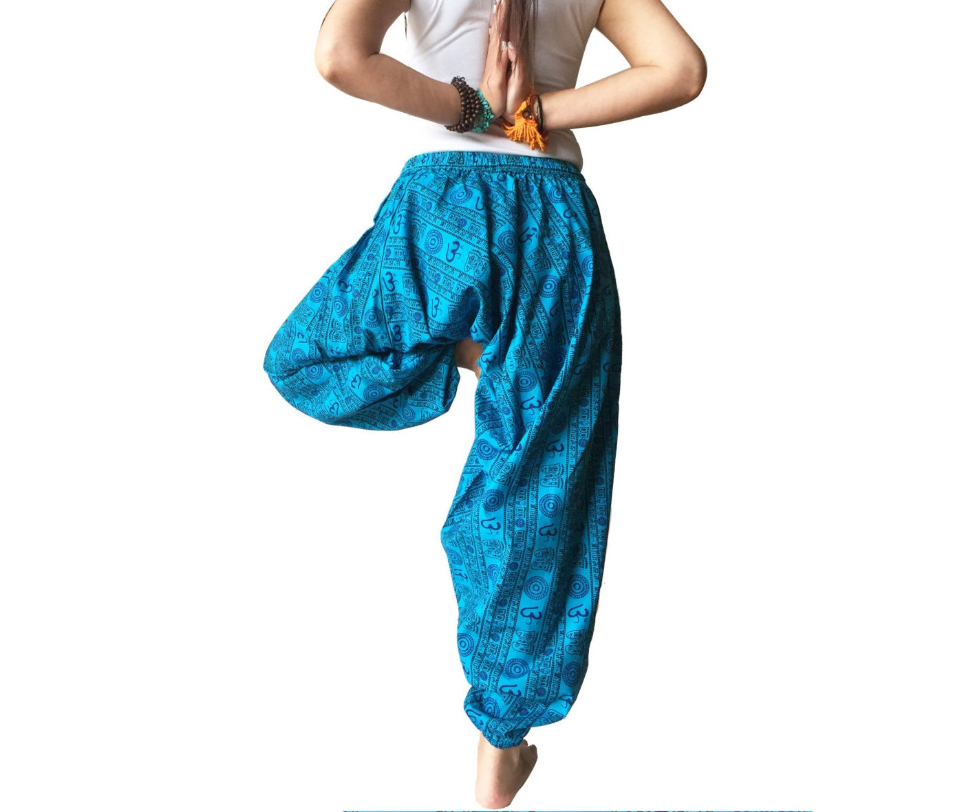 AUM OM Print Cotton Fabric Yoga Pants Blue Baggy By AGORAA