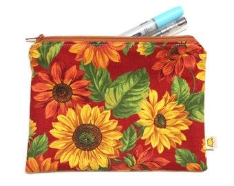 Cotton zipper pouch, large sunflowers pencil case