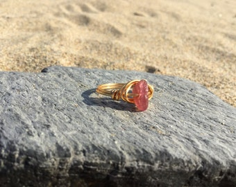 Size H Rubellite Gemstone wire wrapped Midi Knuckle ring