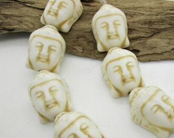 White Howlite Carved Buddha Pendant Bead, Creamy White Buddha, Mala Pendant, 20x15mm (6)
