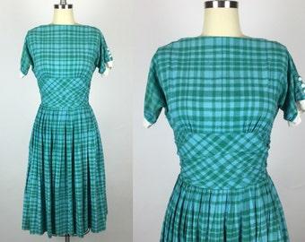 1950s. Vintage Jonathan Logan Designer Swiss Dot Pleated Plaid Day Dress. Size Extra Small.