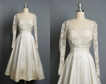 Vintage 1950s illusion wedding dress // 50s lace and satin wedding dress