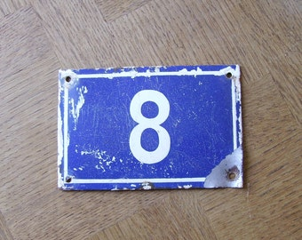 Vintage French House Number 8 Enamel Sign Plaque