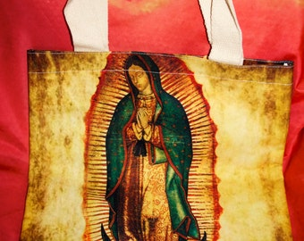 Virgen of Guadalupe, One of a Kind, Shopping Tote, Imprinted handbag, Art accessory, Wearable Art,
