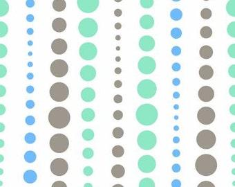 47'' Shannon Fabrics Sky/Opal/Silver Dot Stripe Double Gauze by the Yard