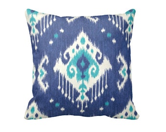 One 18x18 Pillow Cover Decorative Pillow Throw Pillow Pillow Blue Pillow Green Pillow Ikat Pillow