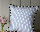 Blue Striped Cushion with Navy and Cream Pom Pom Trim