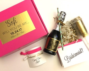 Personalized Bridesmaid Gift Box Sets - Will You Be My Maid of Honor, Bridesmaid, Flower Girl, custom box, popper, mini Champagne label, hai
