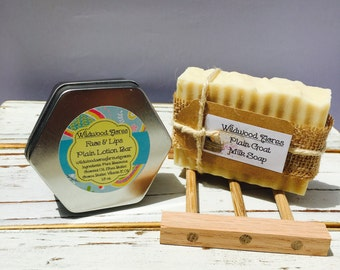 Plain Goat Milk Soap & Lotion Bar with Oak Soap Dish: Gift Set