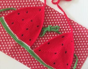 Crochet Watermelon Bra Top