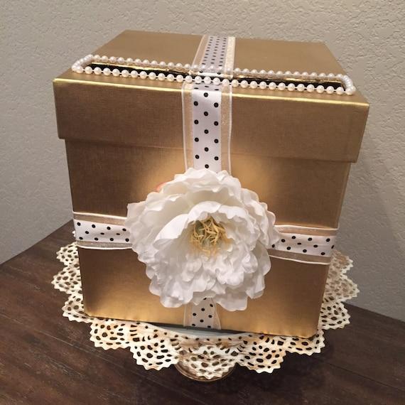 Wedding Gift Card Box Gold : Gold Wedding Box, Wedding Card Box, Money Box, , Gift Card Holder ...