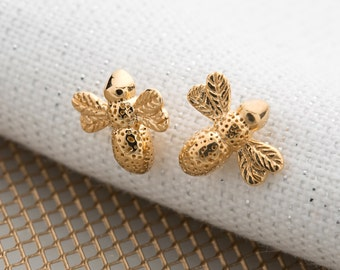 Gold Bee Stud Earrings. Matching necklace also available.