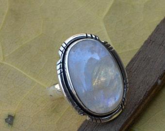 Misty Rainbow Moonstone Gemstone Ring, 925 Sterling Silver Designer Ring, Bezel Set June Birthstone Gift Ring, Blue Stone Gift Ring 8